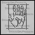 "4x4 Journal Prompt Hand Stencil M020 Artist Designer  4""x4"""