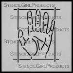 """4x4 Journal Prompt Hand Stencil M020 Artist Designer  4""""x4"""""""